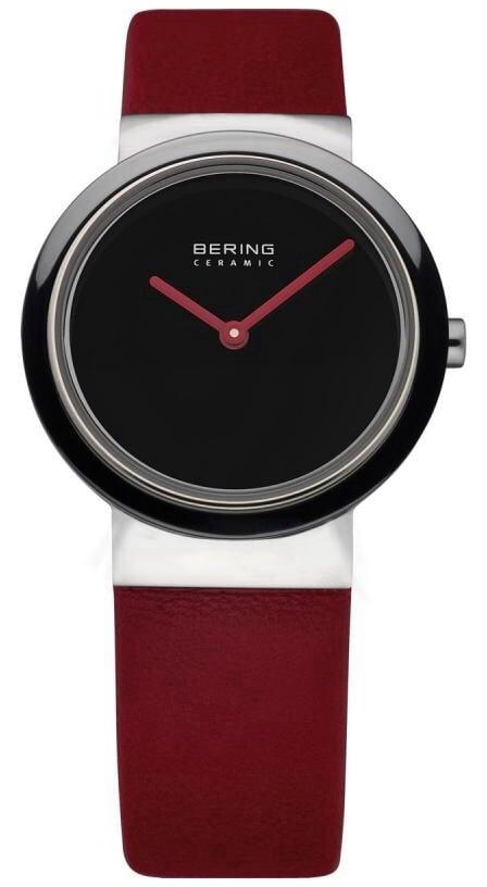 Bering Time Ladies Ceramic Red Calfskin Watch