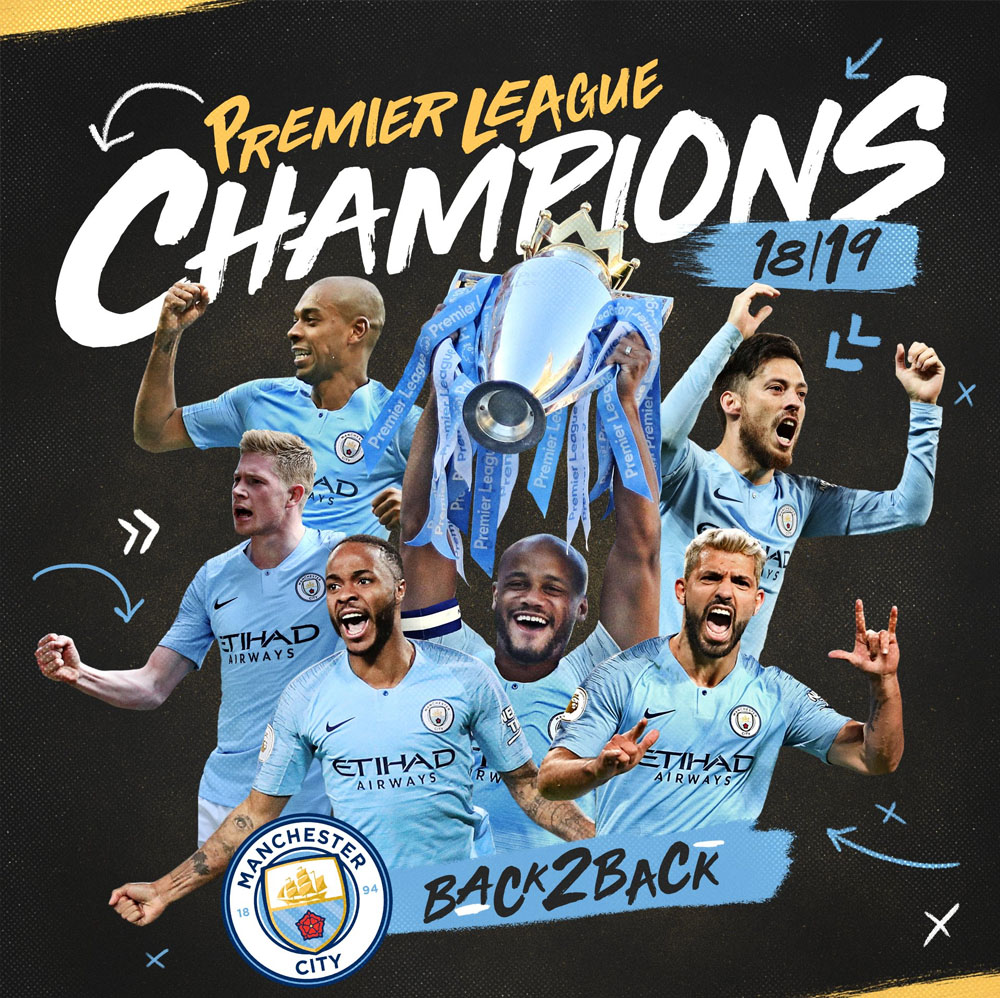 Footballers watches man city champions
