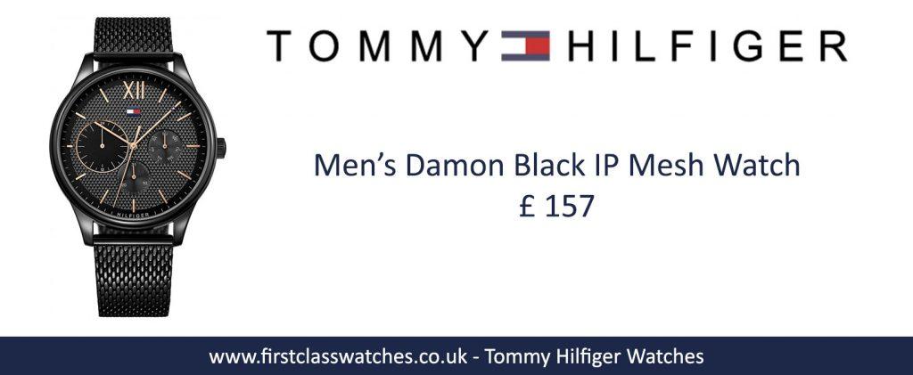 Men's Damon Black IP mesh watch