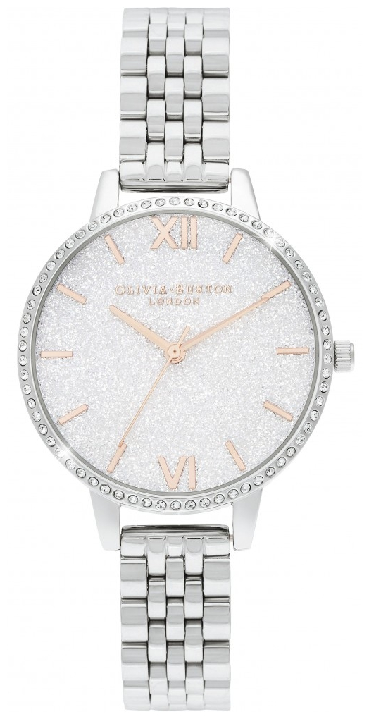 white glitter dial watch