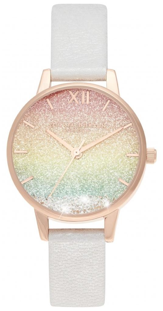 rainbow glitter dial watch