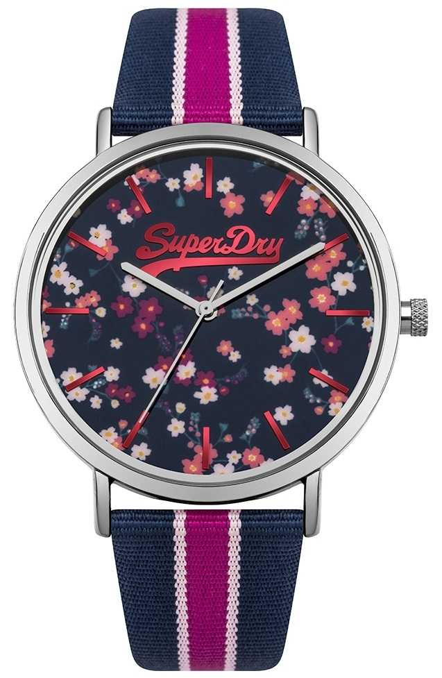 Superdry Womans Oxford Ditsy Floral Navy And Pink SYL183UP