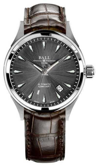Ball Watch Company Trainmaster Legend Grey Sunray Dial Brown Leather Strap NM3080D-LJ-GY