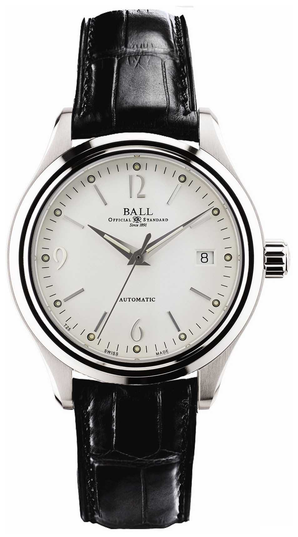 Ball Watch Company Streamliner Automatic White Dial Date Display Black Leather NM1060D-LFJ-WH