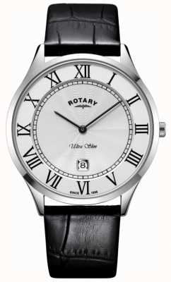 Rotary Mens Ultra Slim Black Leather Strap Steel Case Watch GS08400/29