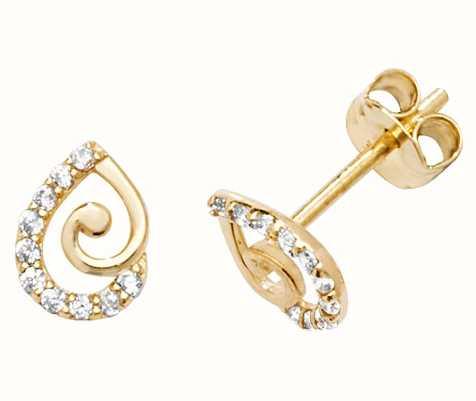 50942ea82 Treasure House 9k Yellow Gold Teardrop Cubic Zirconia Stud Earrings ...