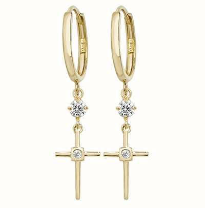 019d7a07c Treasure House 9k Yellow Gold Drop Cross Cubic Zirconia Earrings ...