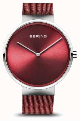 Bering | Classic | Polished/Brushed Silver | Red Mesh Bracelet | 14539-303