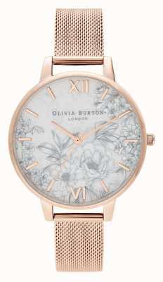 Olivia Burton | Womens | Terrazzo Florals | Pale Rose Gold Mesh | OB16TZ04