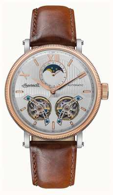 Ingersoll   The Hollywood Automatic   Brown Leather Strap  Silver Dial I09602