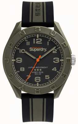 Superdry | Osaka | Black/Khaki Rubber Strap | Black Dial | SYG305NB