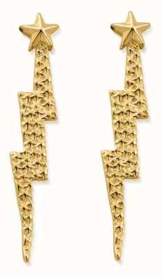 ChloBo Lightning Bolt Drop Stud Earrings   18ct Gold Plated GEST4002