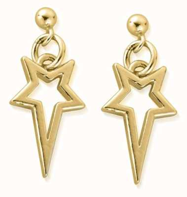 ChloBo North Star Drop Earrings   18ct Gold Plated GEST4004