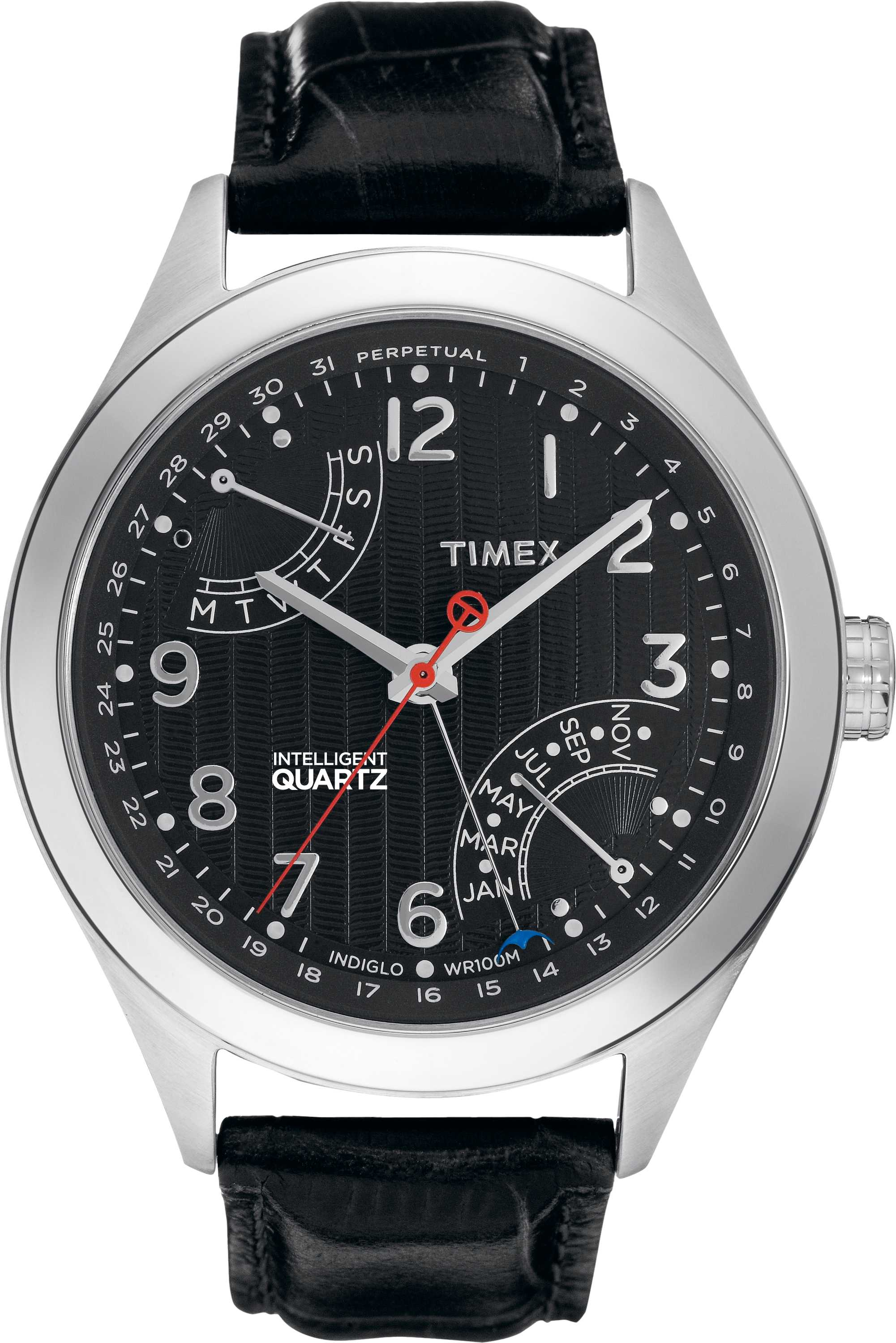 Timex Mens Black Dial Leather Strap  Watch T2N502