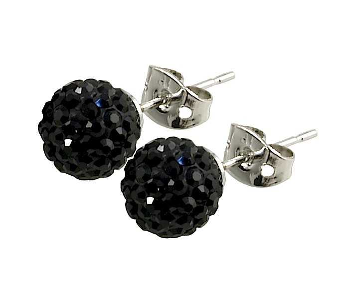 Tresor Paris Breel Black Crystal Earrings (8mm) 016013