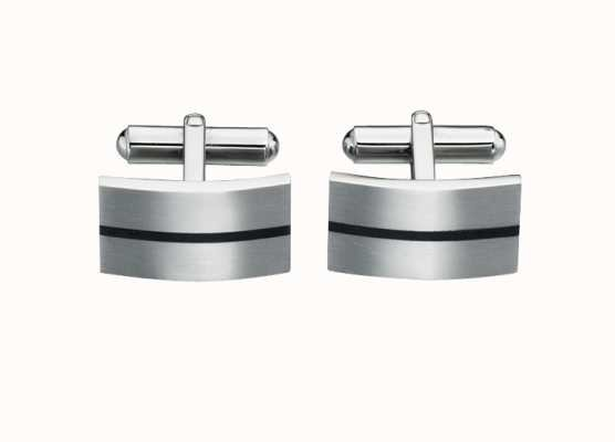 Fred Bennett Stainless Steel Black Enamel Line Cuff Links V424