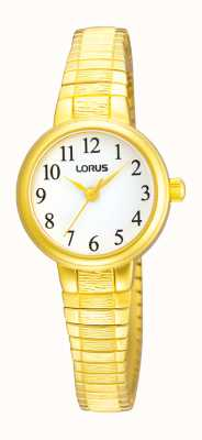 Lorus Ladies' White Dial Gold Tone Expander Watch RRS34TX9