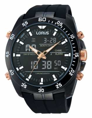 Lorus Black Alarm Chronograph Watch RW615AX9