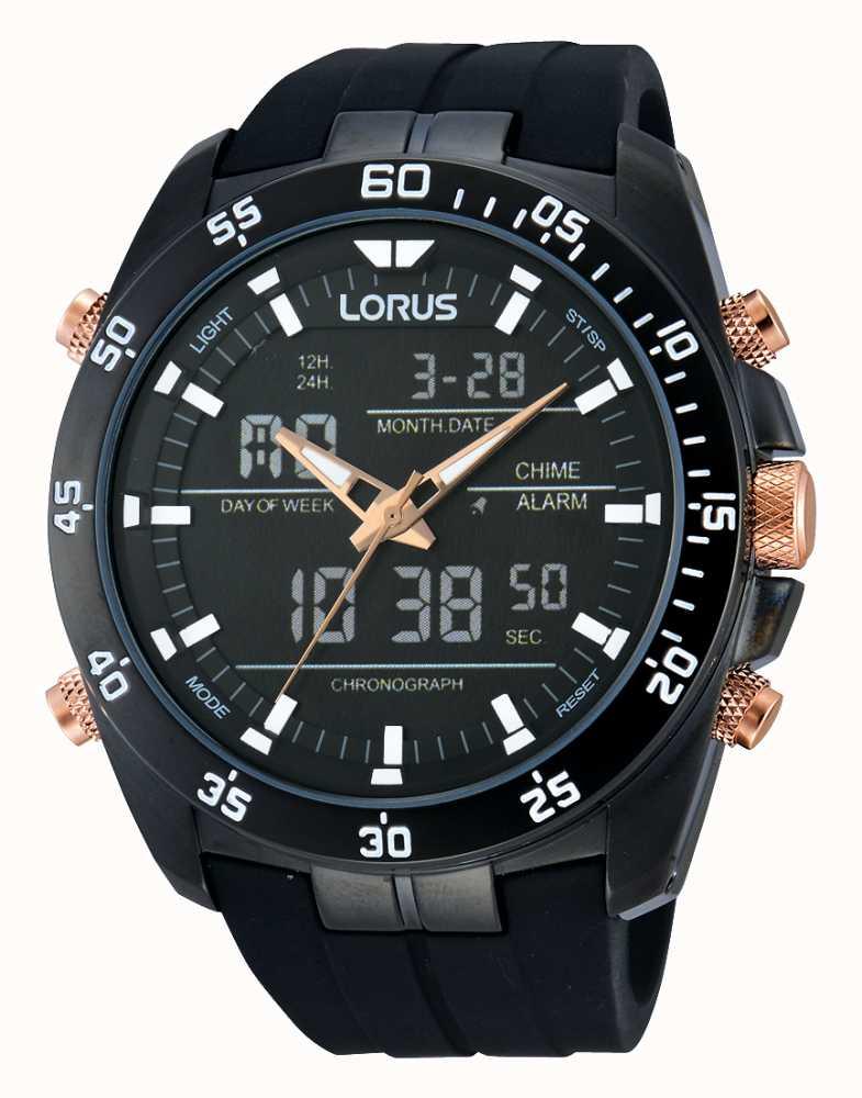 lorus black alarm chronograph watch rw615ax9 first class watches rh firstclasswatches co uk Old Lorus Watches Lorus Quartz Ladies Gold Watches