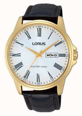 Lorus Mens Brown Leather Strap Day Date Watch RXN10DX9