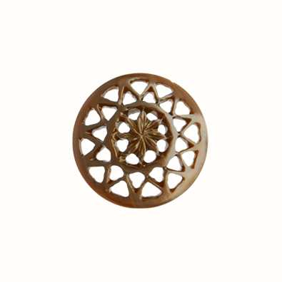 MY iMenso Brown Carved Flower 24mm Shell Insignia 24-0556