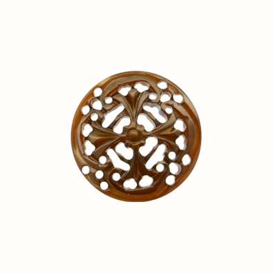 MY iMenso Brown Carved Fantasy 24mm Shell Insignia 24-0557
