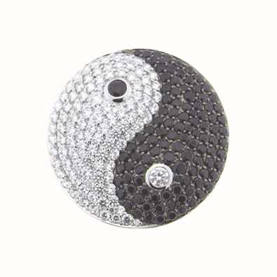 MY iMenso Sphérique 33mm Yin&Yang Insignia With Cz-Stones 33-0596