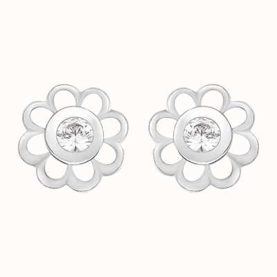 Perfection Swarovski Single Stone Flower Mounted Stud Earrings (0.15ct) E2142-SK