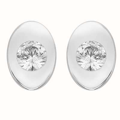 Perfection Crystals Single Stone Rubover Oval Stud Earrings (0.15ct) E2168-SK