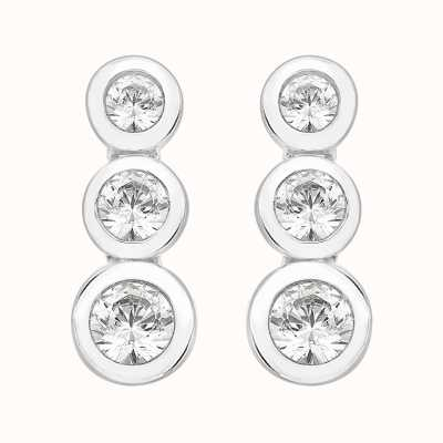 Perfection Crystals Rubover Set Graduating Trilogy Stud Earrings (1.10ct) E2375-SK