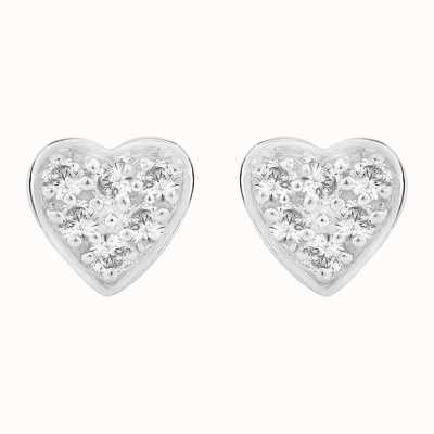 Perfection Crystals Heart Shaped Pavé Set Stud Earrings (0.15ct) E2419-SK