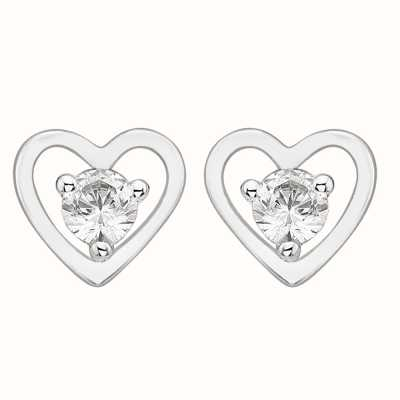 Perfection Crystals Single Stone Stud Earrings in Heart Mount (0.15ct) E2685-SK