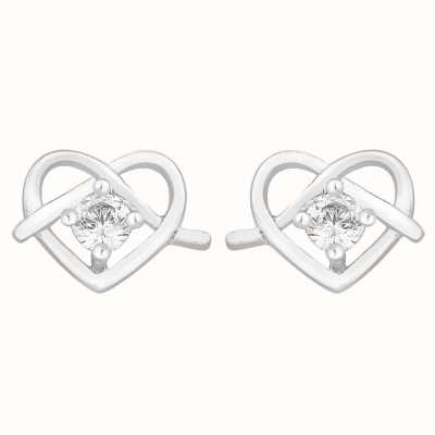 Perfection Crystals Single Stone Stud Earrings in Heart Shape (0.10ct) E2759-SK