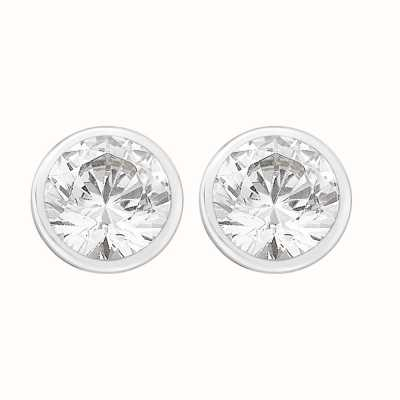 Perfection Swarovski Single Stone Rubover Set Stud Earrings (0.75ct) E3156-SK
