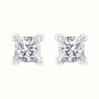 Perfection Swarovski Single Stone Princess Claw Set Stud Earrings (1.80ct) E3932-SK