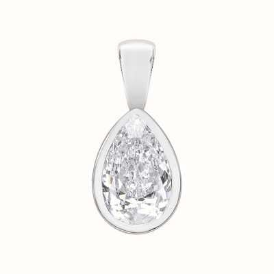 Perfection Swarovski Single Stone Rubover Pear Cut Pendant (0.75ct) P5499-SK