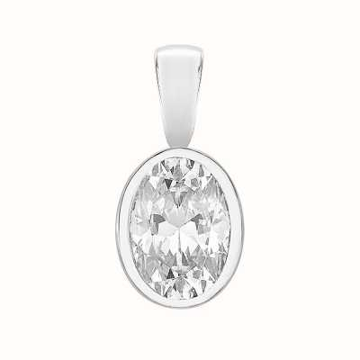 Perfection Swarovski Single Stone Rubover Oval Cut Pendant (0.75ct) P5507-SK