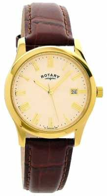 Rotary Mens Gold Plated Leather Strap Watch GSI0794/32