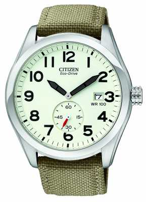Citizen Eco-Drive Mens Canvas Strap Watch BV1080-18A