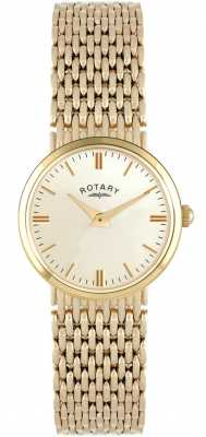 Rotary Womens 9ct Gold Bracelet Watch Champagne Dial LB10900/03