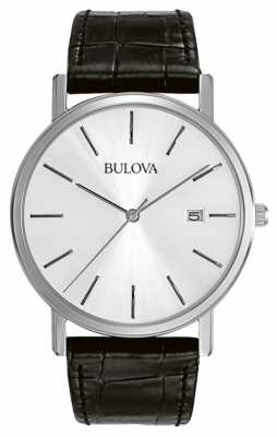 Bulova Mens Dress Silver Black 96B104