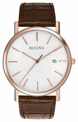 Bulova Mens Rose Gold Plated Watch 98H51