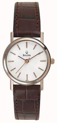 Bulova Womens Rose Gold with Brown Leather Strap 98V31