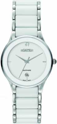 Roamer Womens' Two Tone Silver Ceramic White Strap Watch 677981412560