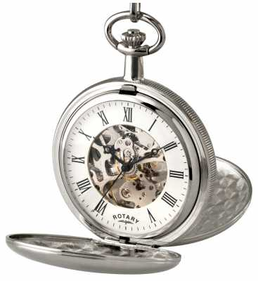 Rotary Gent's Silver Skeleton Pocket Watch MP00726/01