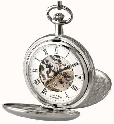 Rotary Gent's Stainless Steel Skeleton Pocket Watch MP00726/01