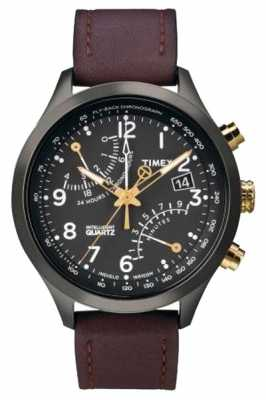 Timex Mens IQ Chronograph Leather Strap Watch T2N931