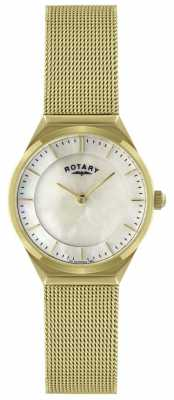 Rotary Womens Mother of Pearl Dial Gold Plated Mesh Watch LB02613/40