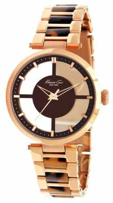 Kenneth Cole Womens Two Tone Brown Circle Dial Watch KC4766