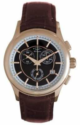 Rotary Gent's Quartz Chronograph Brown Leather Strap Watch GS90046/06
